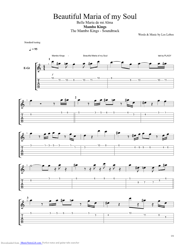 Beautiful Maria Of My Soul Guitar Pro Tab By Unknown Tv