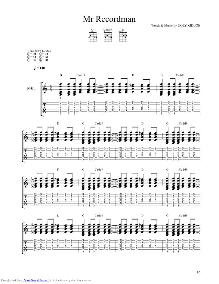 Mr Recordman Guitar Pro Tab By Ugly Kid Joe Musicnoteslib Com