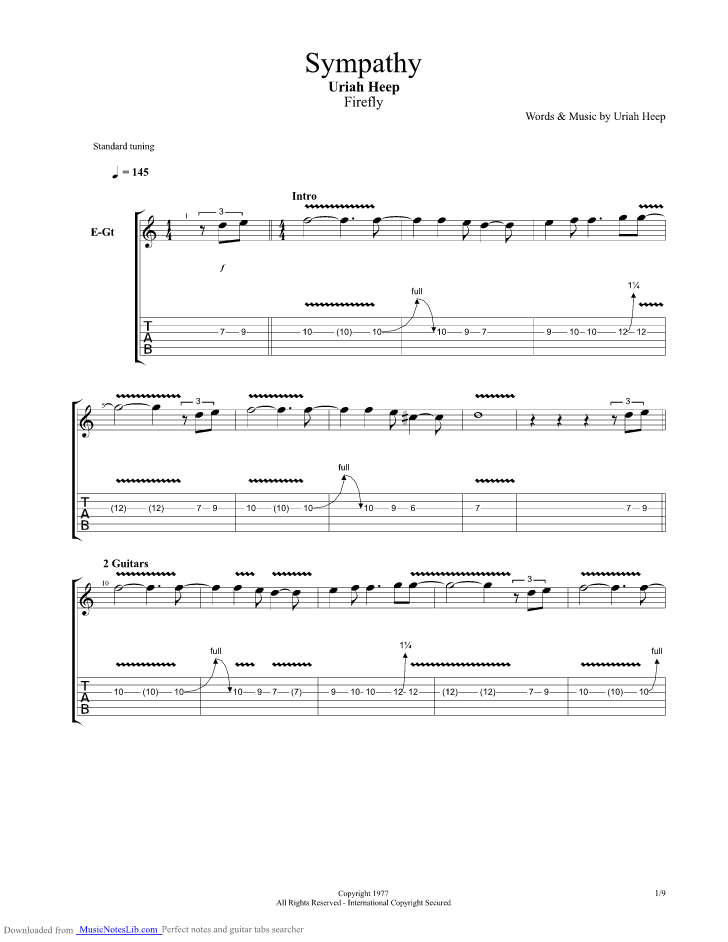 Sympahty Guitar Pro Tab By Uriah Heep Musicnoteslib Com