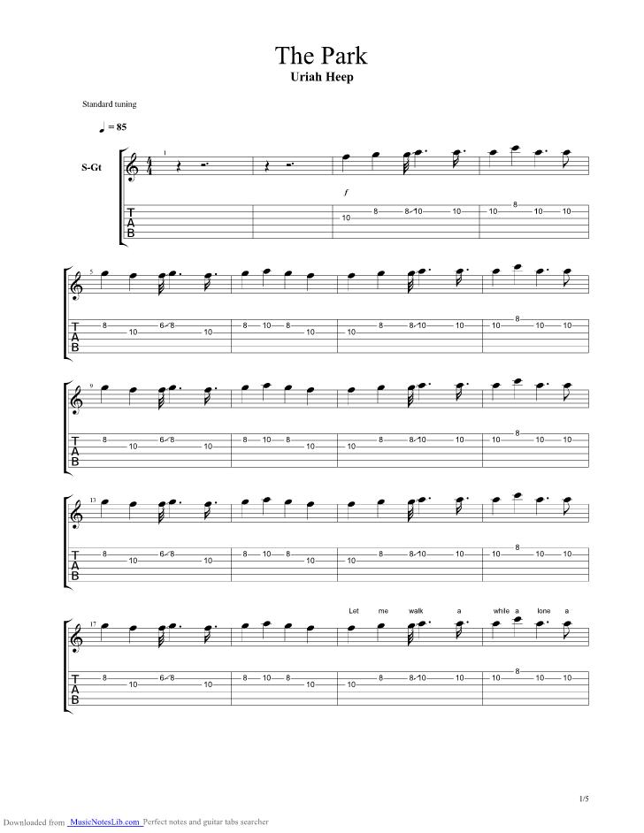 The Park Guitar Pro Tab By Uriah Heep Musicnoteslib Com