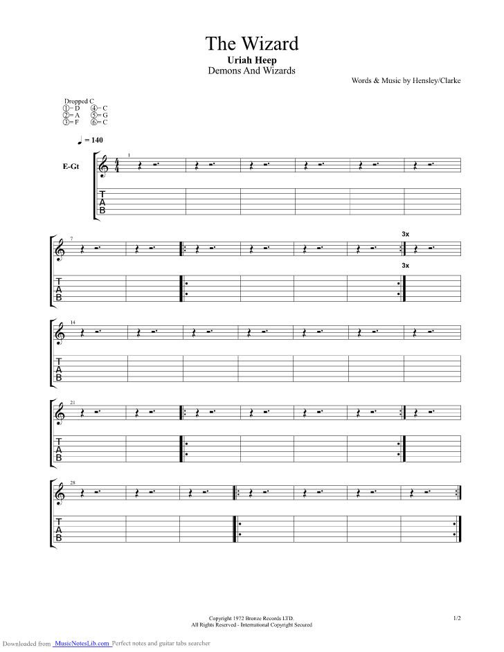 The Wizard Guitar Pro Tab By Uriah Heep Musicnoteslib Com