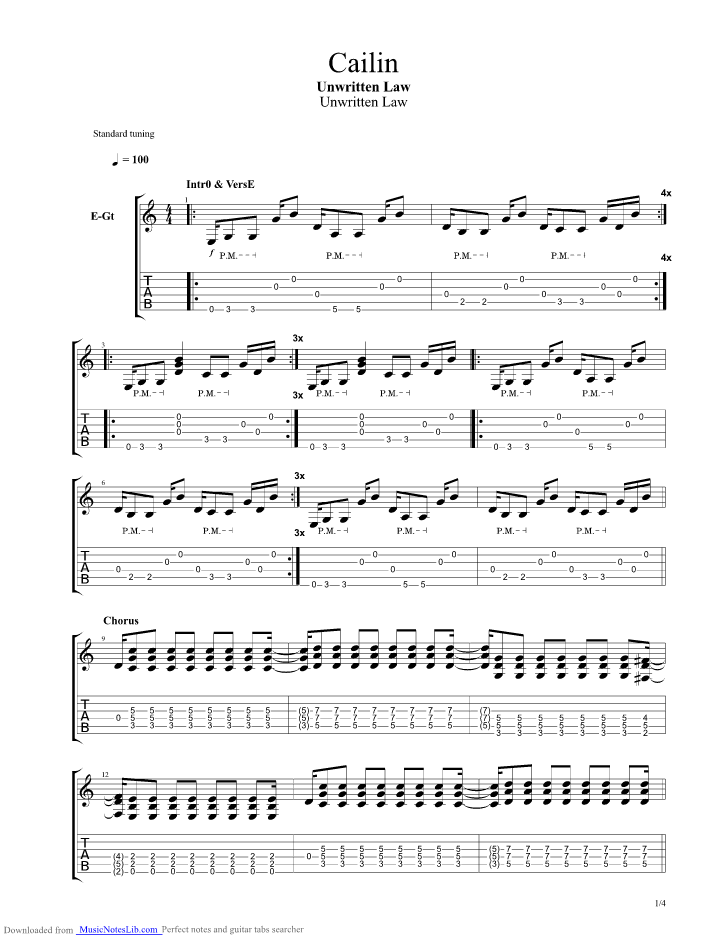 Cailin guitar pro tab by Unwritten Law @ musicnoteslib.com