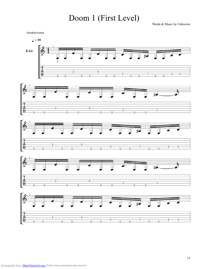 Doom 1 First Level guitar pro tab by Unknown TV