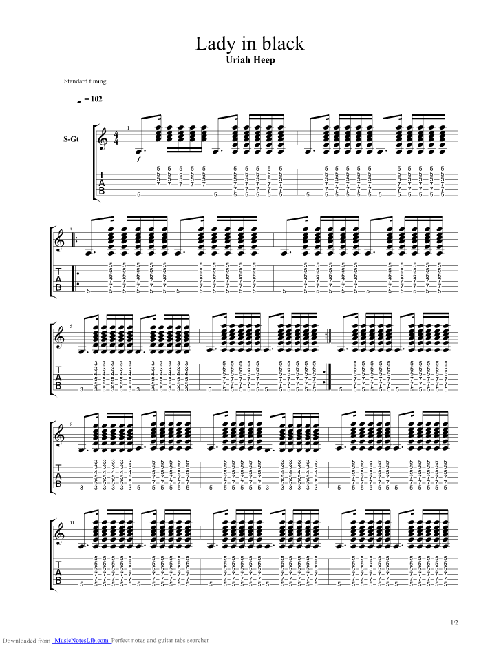 Lady In Black Guitar Pro Tab By Uriah Heep Musicnoteslib Com