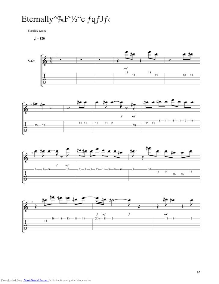 Eternally Guitar Pro Tab By Utada Hikaru Musicnoteslib