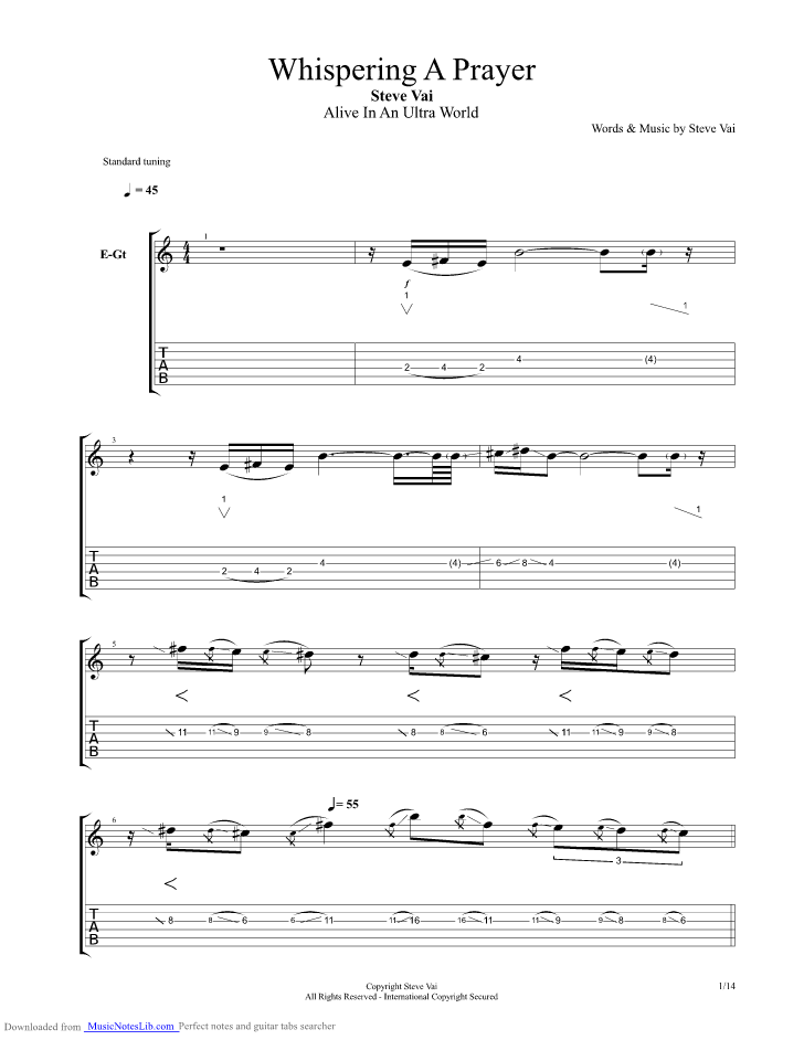 Whispering A Prayer guitar pro tab by Steve Vai @ musicnoteslib.com