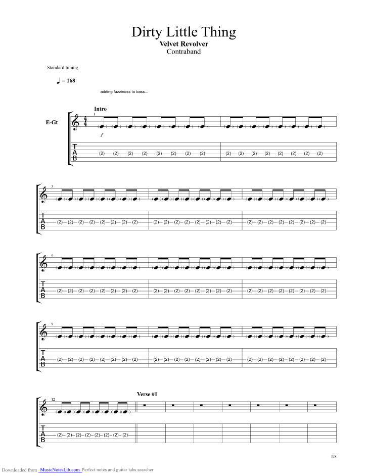 Dirty Little Thing guitar pro tab by Velvet Revolver @ musicnoteslib.com