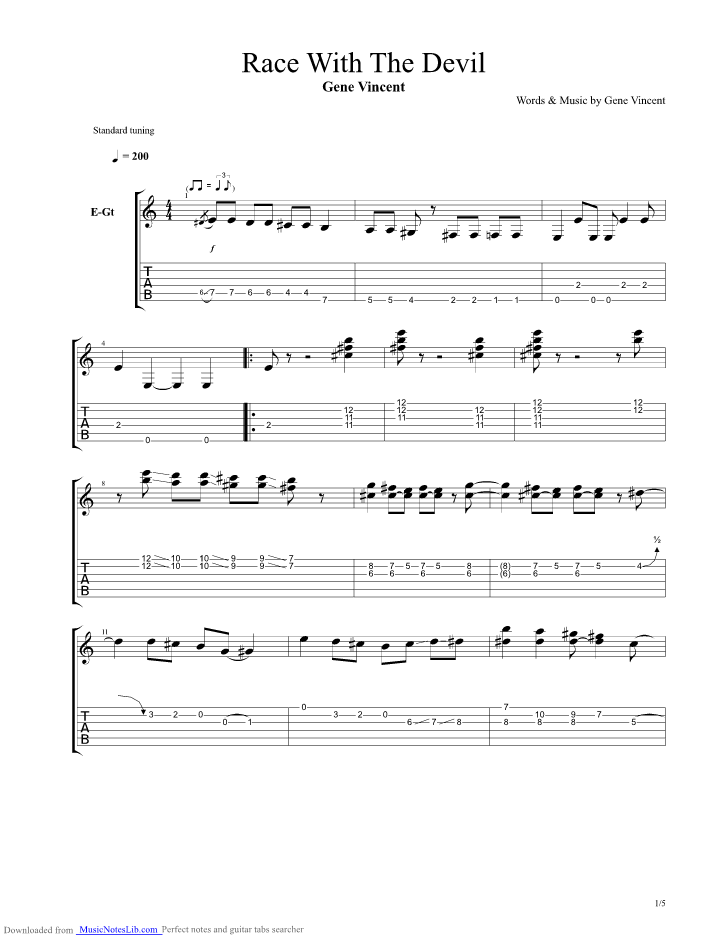 Race With The Devil guitar pro tab by Gene Vincent @ musicnoteslib.com