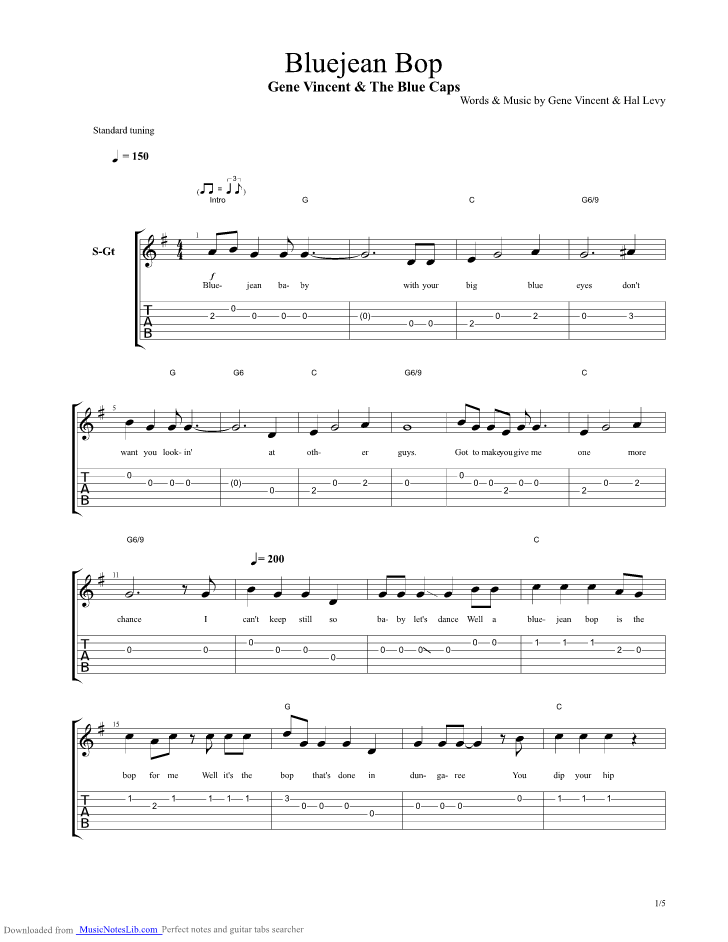 Bluejean Bop guitar pro tab by Gene Vincent @ musicnoteslib.com
