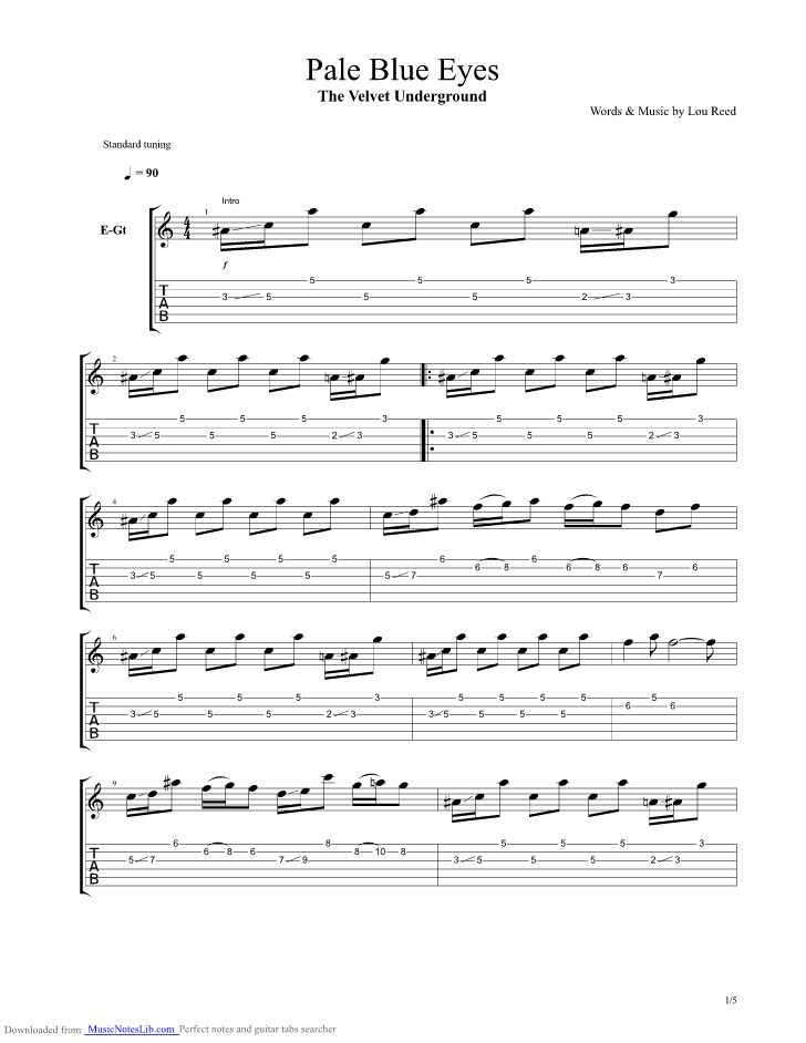 Pale Blue Eyes Guitar Pro Tab By Velvet Underground Musicnoteslib