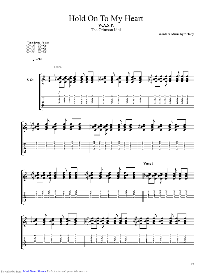 Hold On To My Heart Guitar Pro Tab By Wasp Musicnoteslib