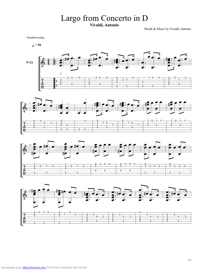 Largo from Concerto in D guitar pro tab by Vivaldi