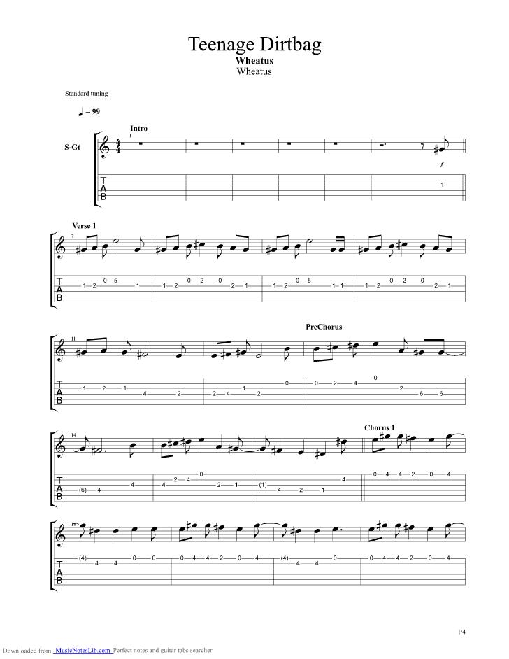 Teenage dirtbag – acoustic guitar – chords – wheatus | the glog.