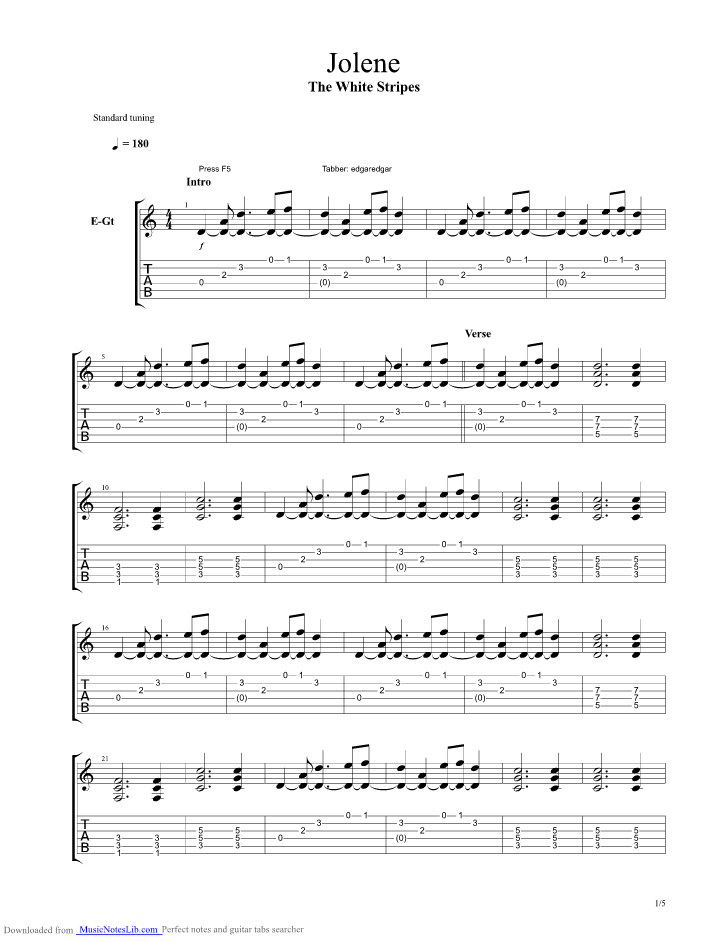 Jolene Guitar Pro Tab By The White Stripes Musicnoteslib