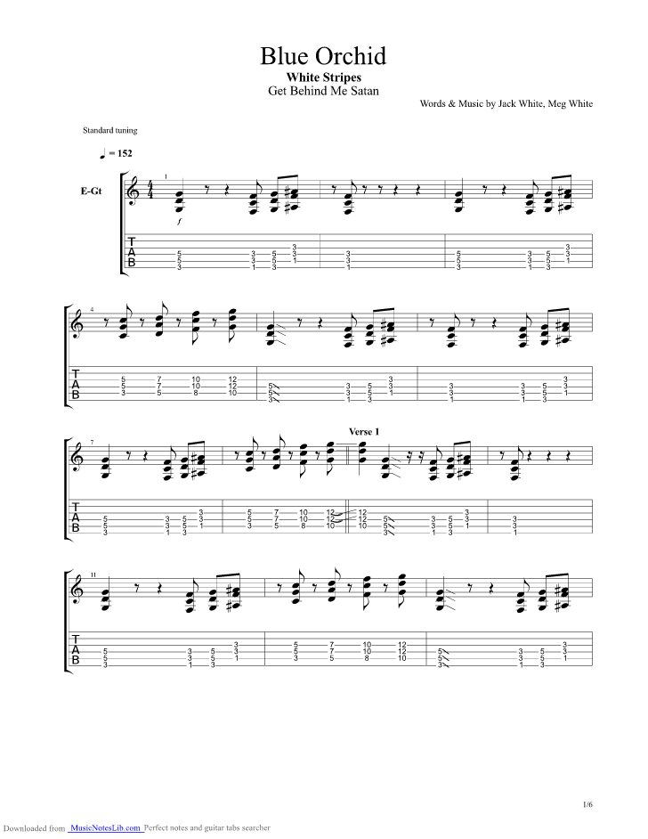 Blue Orchid guitar pro tab by The White Stripes @ musicnoteslib.com