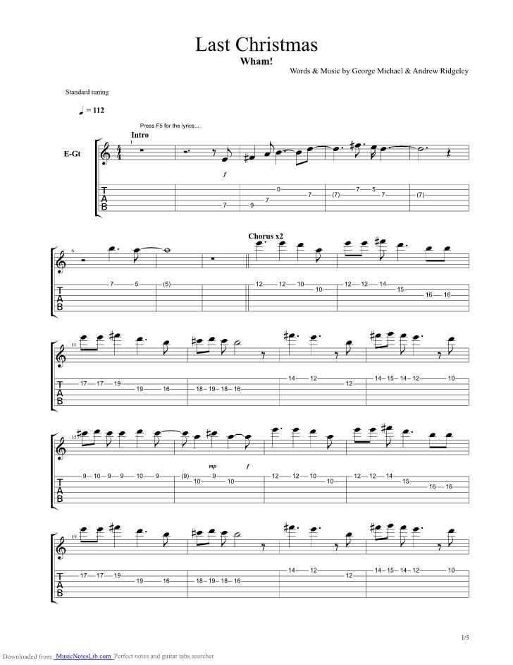 last christmas guitar chords pdf