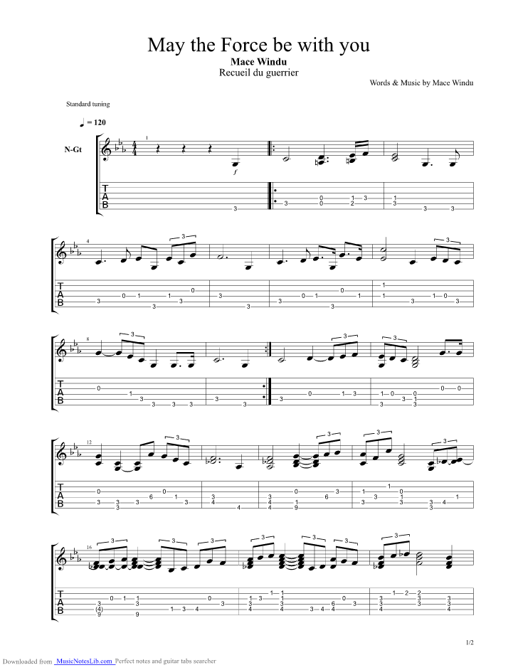 May The Force Be With You guitar pro tab by Jurassic Park @ musicnoteslib.com
