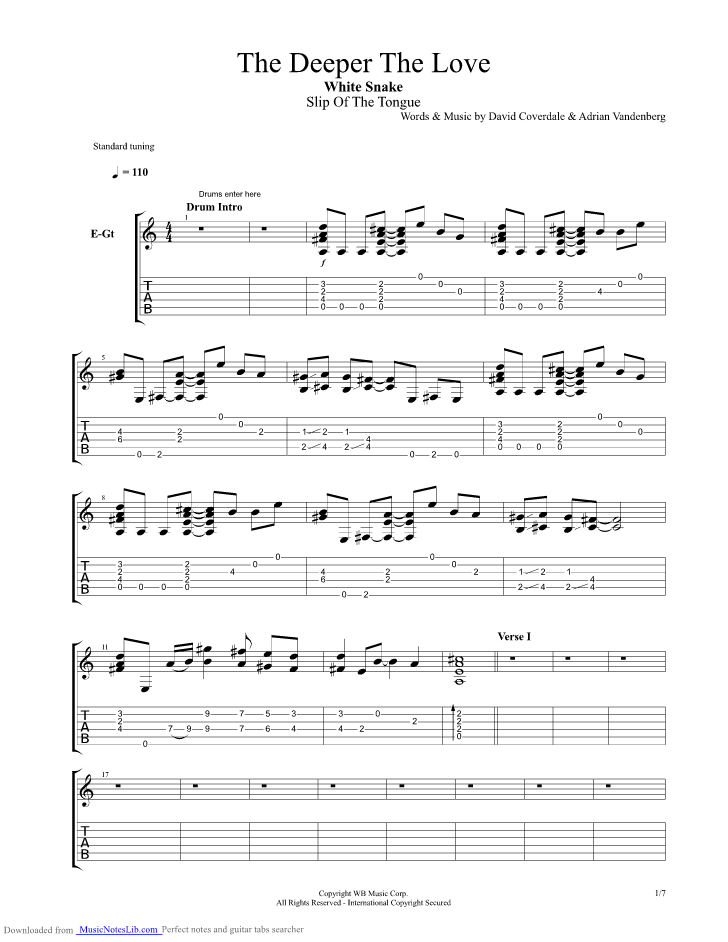 The Deeper The Love guitar pro tab by Whitesnake ...