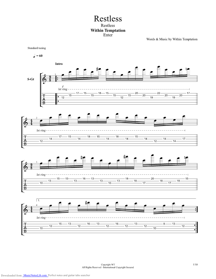 Restless Guitar Pro Tab By Within Temptation Musicnoteslib