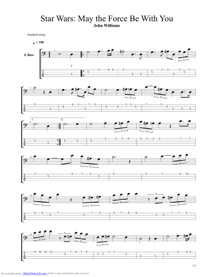 May the Force Be With You bass guitar pro tab by Jurassic Park @ musicnoteslib.com