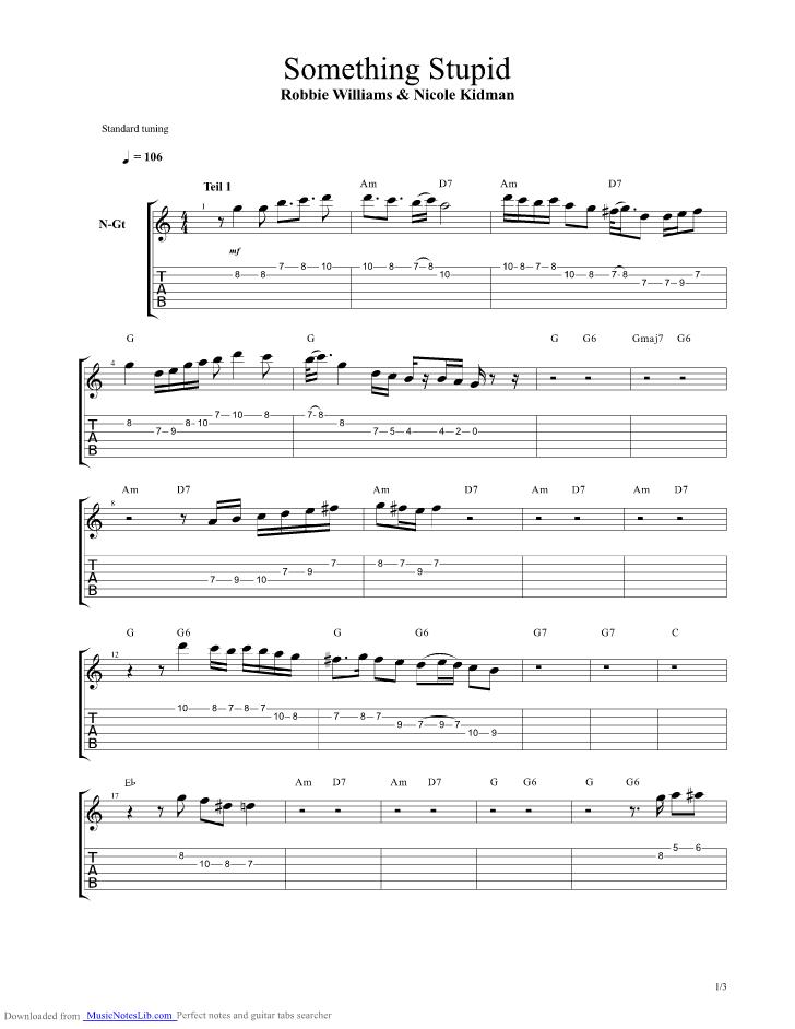 Something Stupid guitar pro tab by Jurassic Park @ musicnoteslib.com