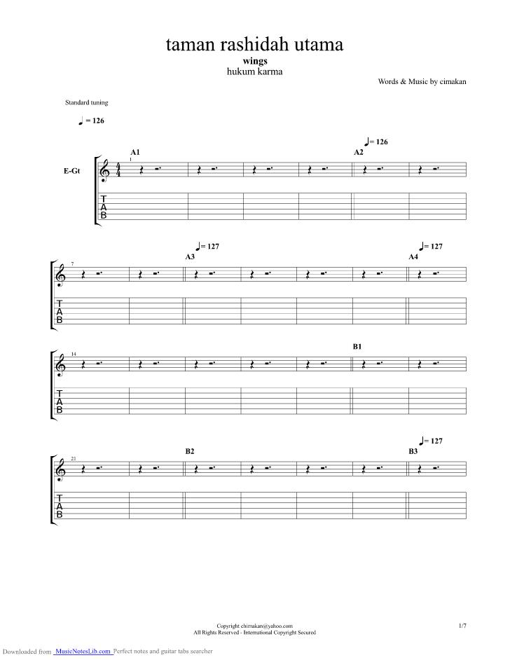 Taman Rashidah Utama guitar pro tab by Wings @ musicnoteslib.com