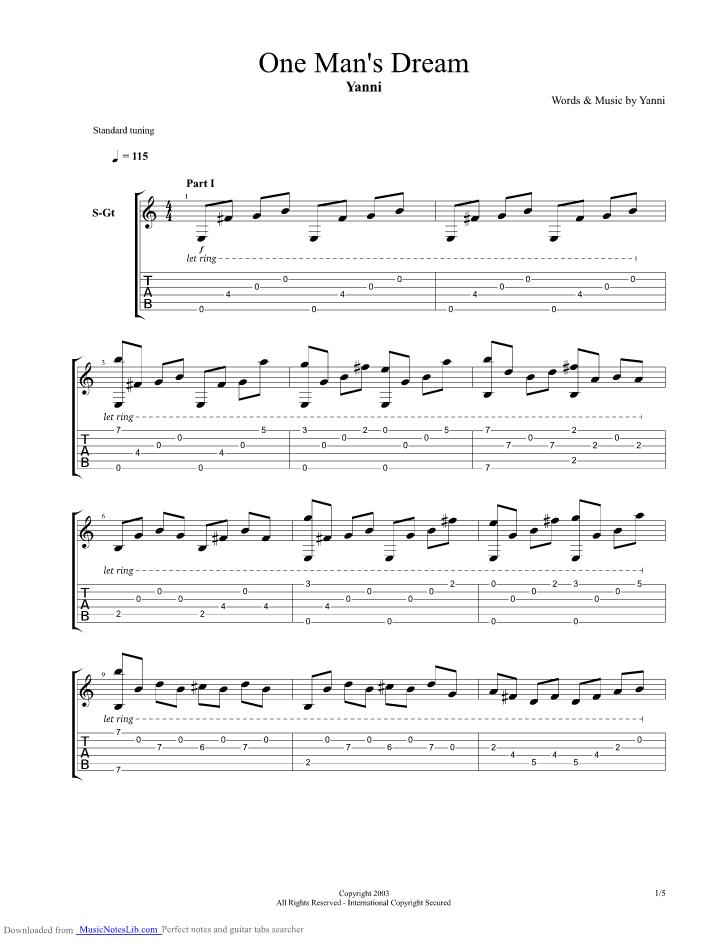 One Mans Dream Guitar Pro Tab By Yanni Musicnoteslib
