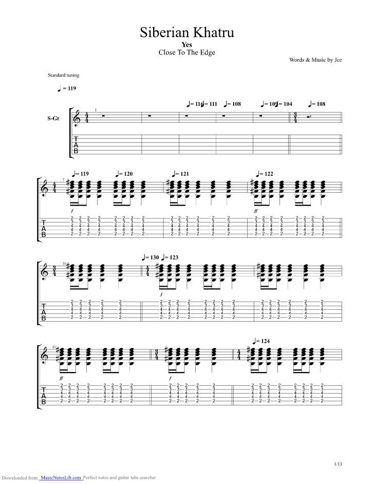 Siberian Khatru guitar pro tab by Yes @ musicnoteslib com
