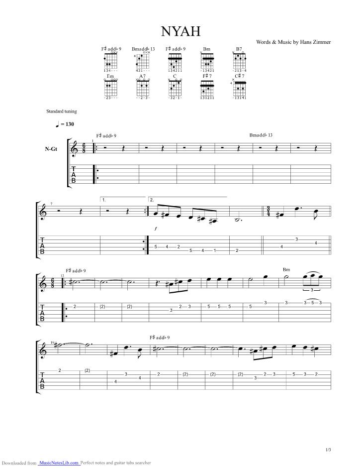Nyah Guitar Pro Tab By Hans Zimmer Musicnoteslib