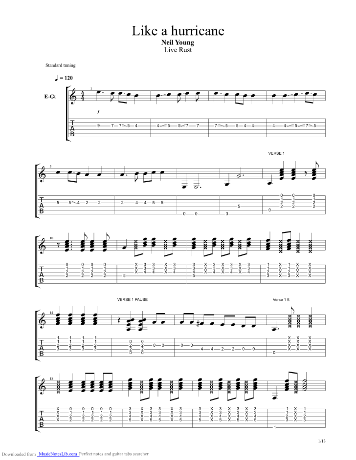 Like a Hurricane guitar pro tab by Neil Young @ musicnoteslib.com