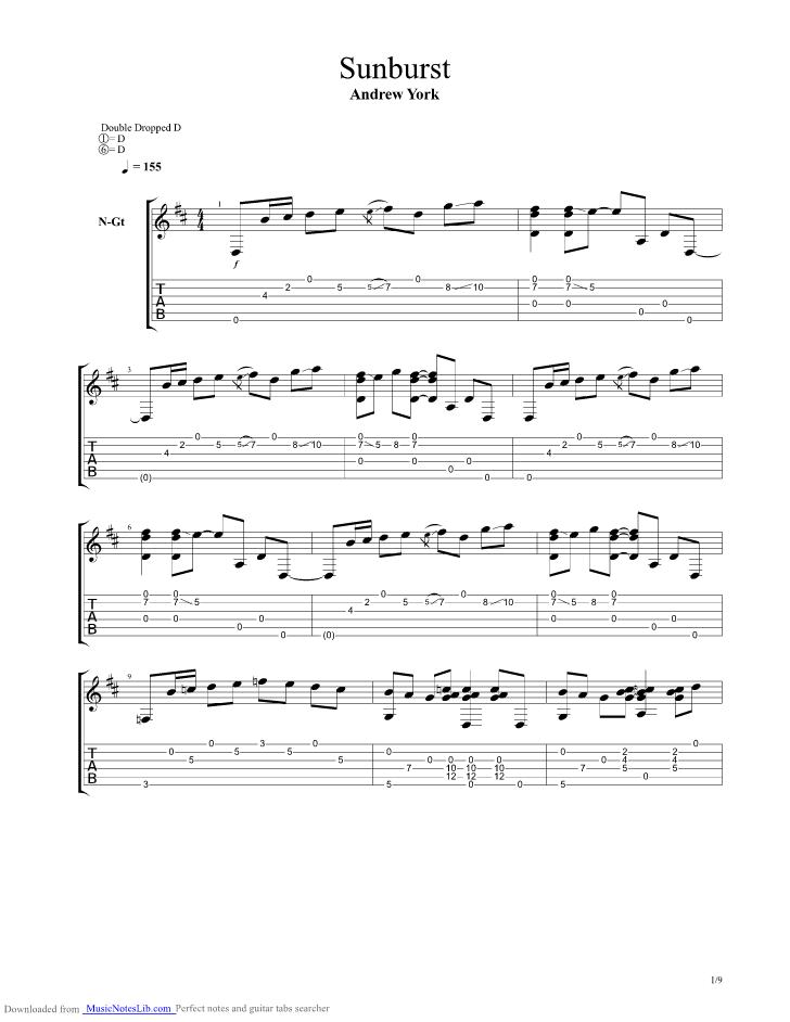 Andrew York Sunburst Sheet Music Pdf Andrew York Sheet Music Downloads