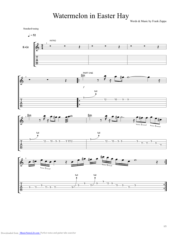 Watermelon in Easter Hay guitar pro tab by Frank Zappa ...