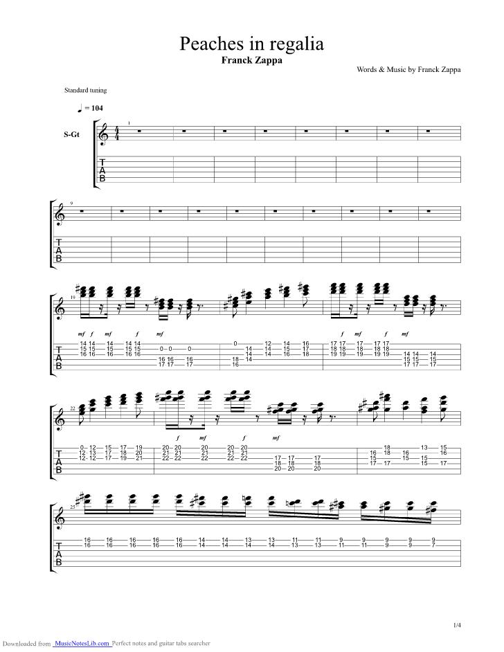 peaches in regalia guitar pro tab by frank zappa