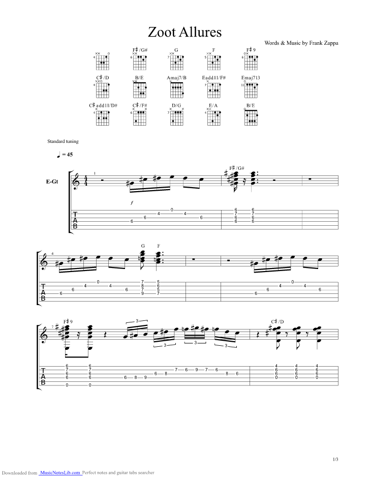 Zoot Allures Guitar Pro Tab By Frank Zappa Musicnoteslib Com