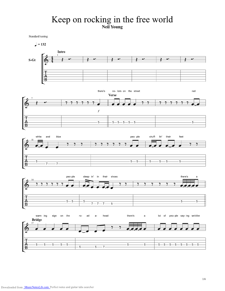 Keep On Rockin In The Free World guitar pro tab by Neil Young ...