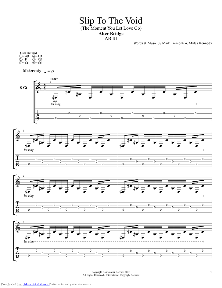 Slip To The Void Guitar Pro Tab By Alter Bridge Musicnoteslib