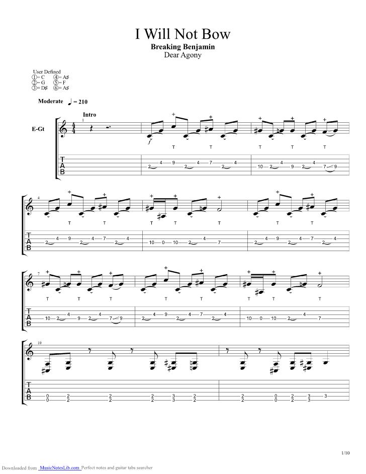 I Will Not Bow guitar pro tab by Breaking Benjamin @ musicnoteslib.com