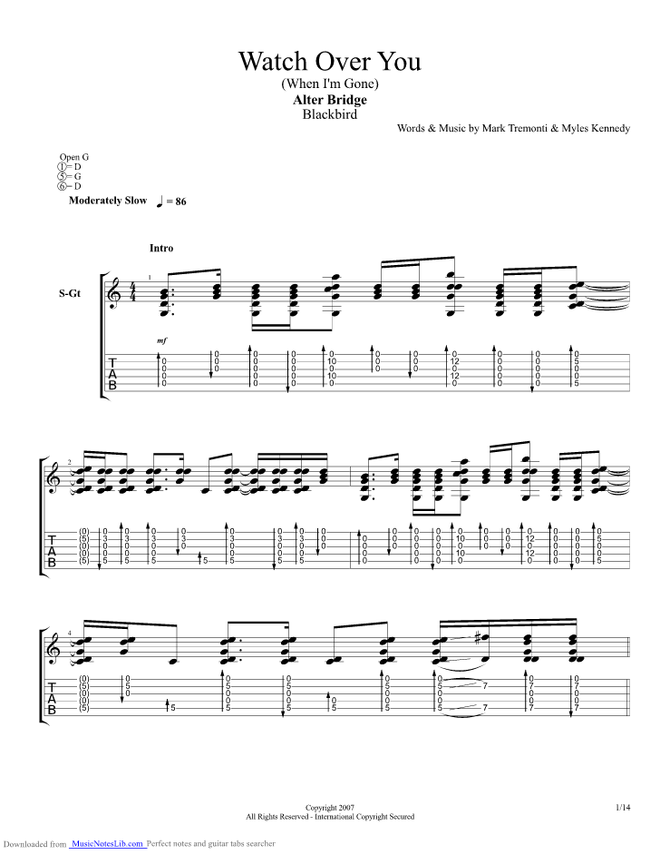 Watch Over You Guitar Pro Tab By Alter Bridge Musicnoteslib
