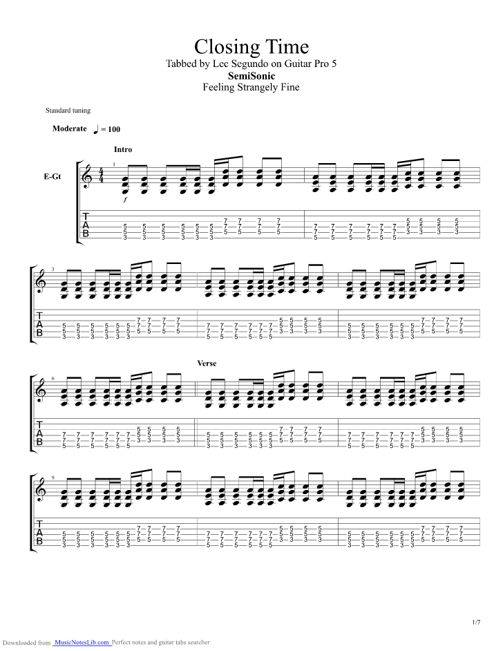 Closing Time Live guitar pro tab by Semisonic @ musicnoteslib.com