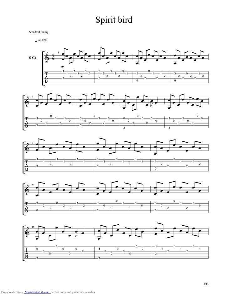 Spirit Bird guitar pro tab by Xavier Rudd @ musicnoteslib.com