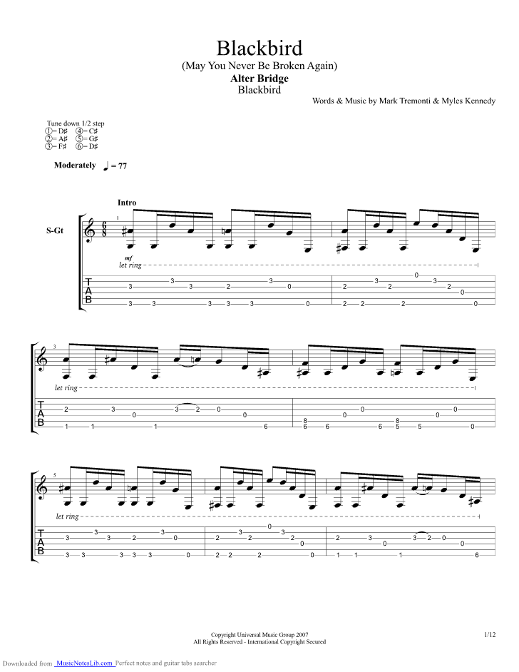 Blackbird Guitar Pro Tab By Alter Bridge Musicnoteslib