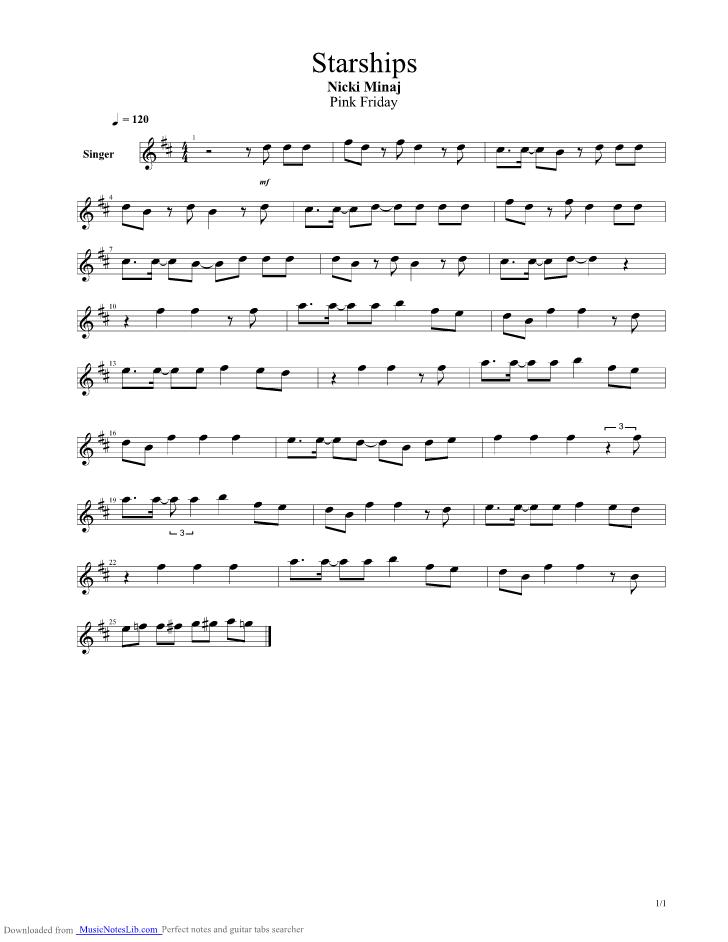 Starships Guitar Pro Tab By Nicki Minaj Musicnoteslib
