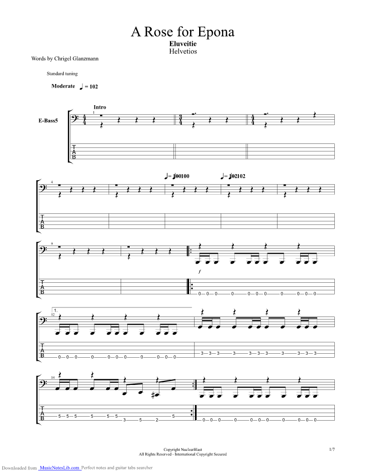 A Rose For Epona Guitar Pro Tab By Eluveitie Musicnoteslib