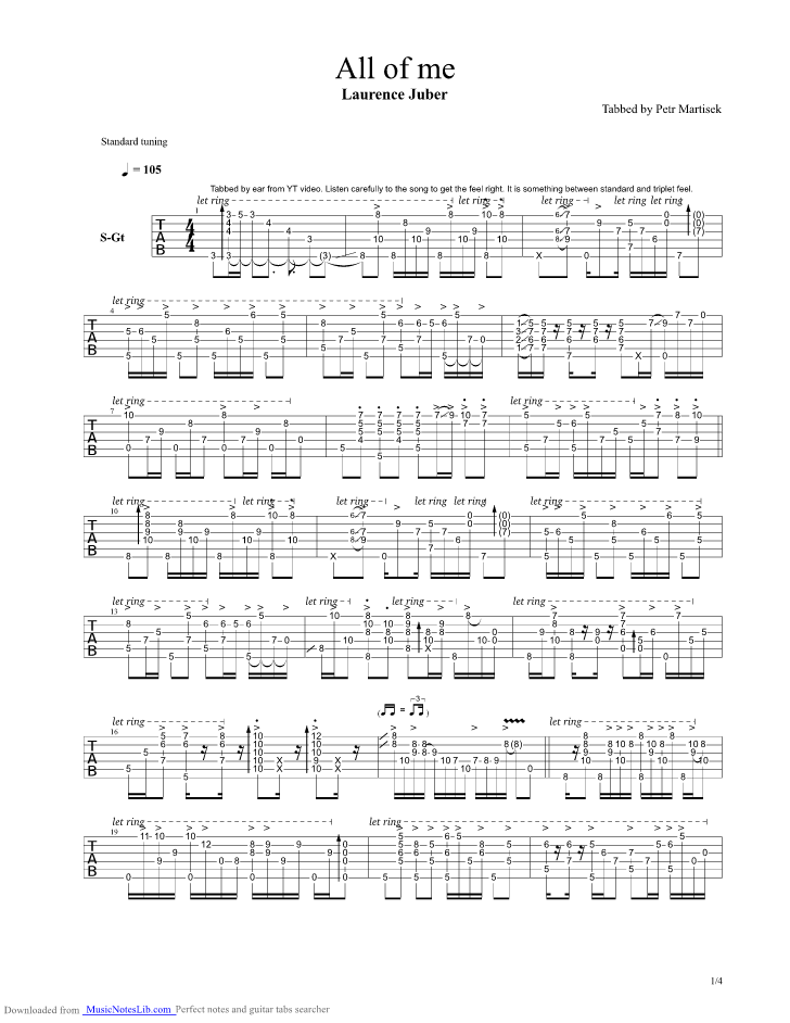 All Of Me Guitar Pro Tab By Laurence Juber @ Musicnoteslib.com