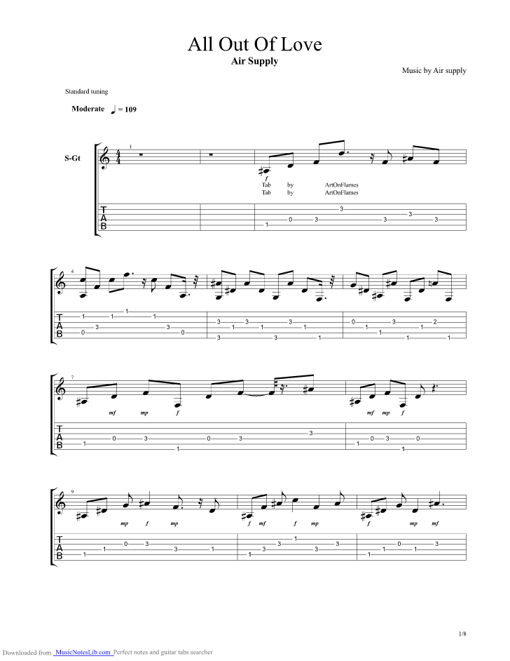 All Out Of Love Guitar Pro Tab By Air Supply Musicnoteslib