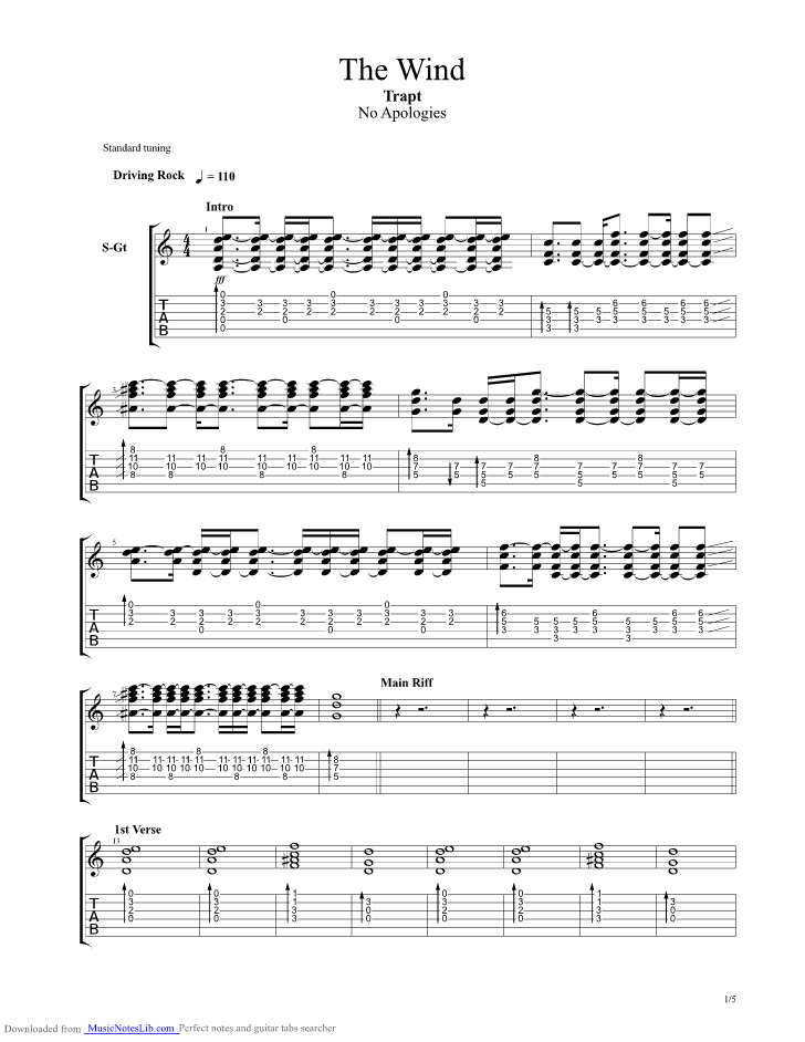 The Wind guitar pro tab by Trapt @ musicnoteslib.com