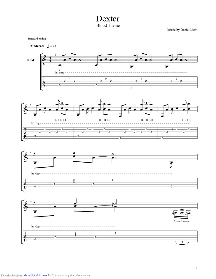 dexter blood theme guitar pro tab  misc television  musicnoteslibcom