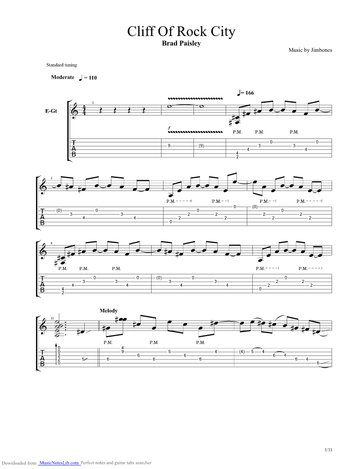 Cliffs Of Rock City Guitar Pro Tab By Brad Paisley Musicnoteslib
