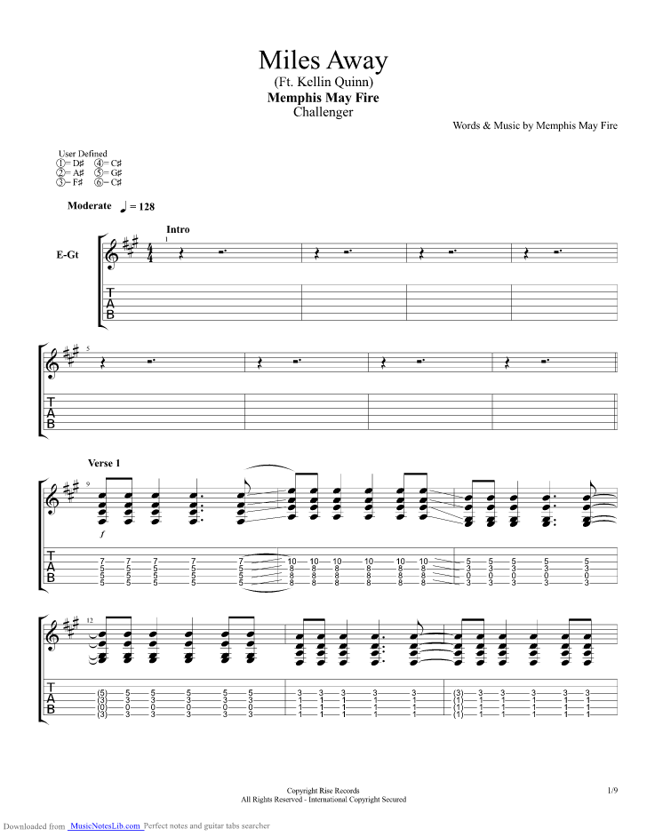 Miles Away guitar pro tab by Memphis May Fire @ musicnoteslib.com