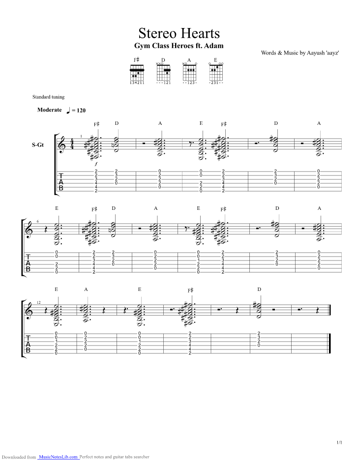 Stereo Hearts Guitar Pro Tab By Gym Class Heroes Musicnoteslib